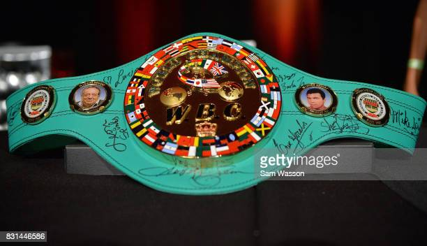 A general view shows a WBC championship belt signed by the 2017 Nevada Boxing Hall of Fame inductees at the fifth annual induction gala at Caesars...