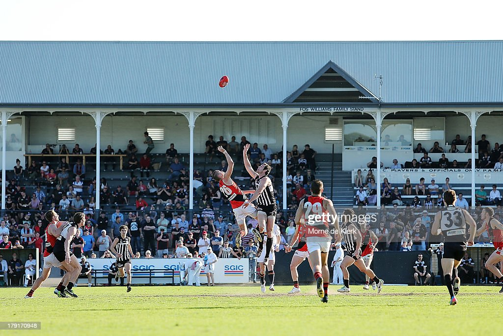 A general view shows action during the round 22 SANFL match between the Port Adelaide Magpies and the West Adelaide Bloods at Alberton Oval on September 1, 2013 in Adelaide, Australia.