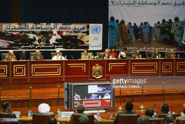 A general view shows African leaders UN envoys and AU negotiators attending a peace conference aimed at ending four years of bloodshed in Sudan's...