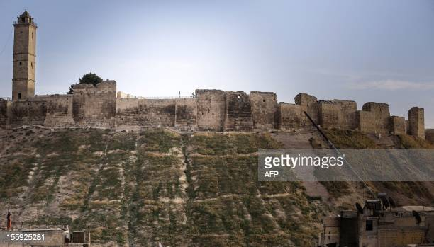 A general view shows Aleppo's 5000yearold citadel which towers 100 metres above the rest of the northern Syrian city and is now a government...