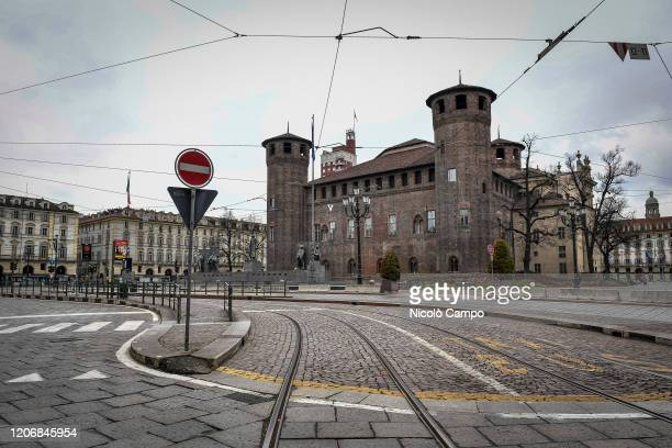 General view shows almost deserted piazza Castello The Italian government shutted down majority of stores to halt the spread of COVID19 coronavirus...