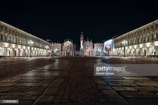 General view shows almost deserted piazza San Carlo The Italian government puts the whole country on lockdown as Italy is battling COVID19...
