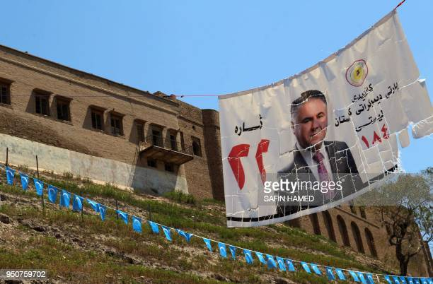 A general view shows an election campaign and Iraqi Turkmen Front flags in Arbil the capital of the northern Iraqi Kurdish autonomous region on April...