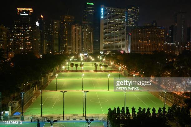 General view shows an empty Victoria Park in the Causeway Bay district of Hong Kong on June 4 after police closed the venue where Hong Kong people...