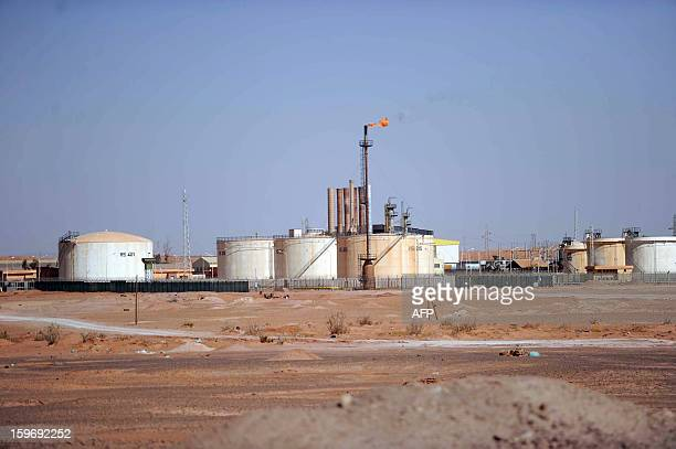 A general view shows an oil installation on the outskirts of In Amenas deep in the Sahara near the Libyan border on January 18 2013 Islamist...