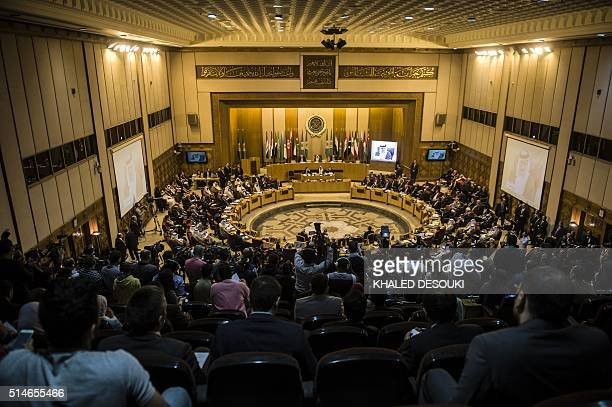 A general view shows Arab foreign ministers during a meeting to elect a new secretary general of the Arab League in the Egyptian capital Cairo on...
