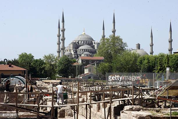 A general view shows archaeologists at work at an excavation site in Istanbul on April 21 2008 After several centuries of oblivion in the depths of...
