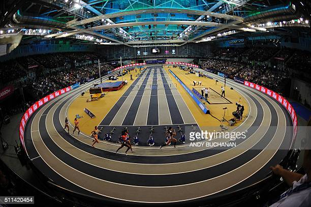 General view shows athletes competing during the Glasgow Indoor Grand Prix at the Emirates Arena in Glasgow on February 20, 2016. / AFP / Digital /...