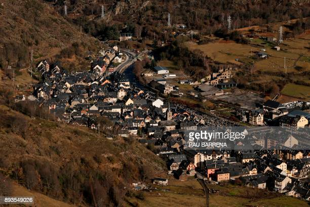 A general view shows Bossost in the Aran Valley in northwest Catalonia on December 12 2017 Speaking a form of the Occitan language like some of their...