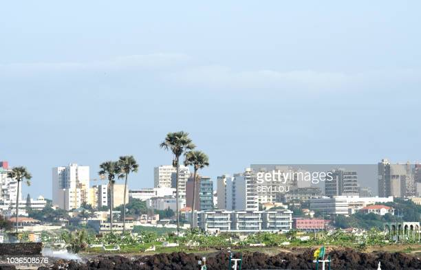 A general view shows buildings on the seafront of Senegal's largest city and capital Dakar on September 18 2018