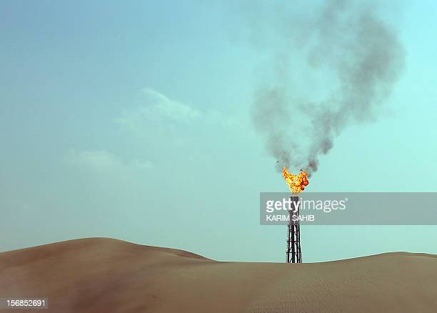 General view shows burning flames from a gas well in Sailiya, 40km north of the Qatari capital Doha, on November 19, 2012. Environmentalists question...