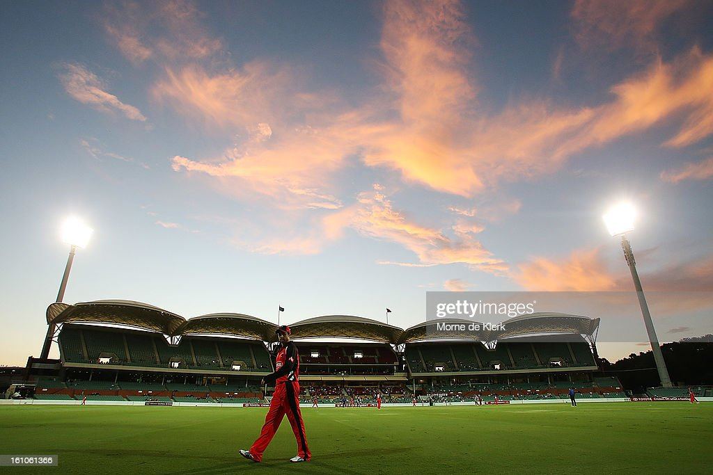 A general view shows Callum Ferguson of the Redbacks standing in the outfield during the Ryobi One Cup Day match between the South Australian Redbacks and the Victorian Bushrangers at Adelaide Oval on February 9, 2013 in Adelaide, Australia.