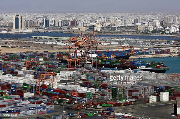 A general view shows cargo containers at the Jeddah Islamic Port off the Red Sea on November 30 2008 AFP PHOTO/KHALED DESOUKI