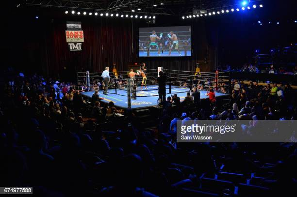 A general view shows Carlos Zambrano and Claudio Marrero in the ring during the first round of their WBA interim featherweight title fight at the...