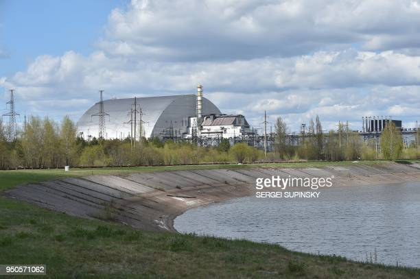 A general view shows Chernobyl's New 108 metres Safe Confinement covering the 4th block of Chernobyl Nuclear power plant on April 23 2018 Ukraine on...