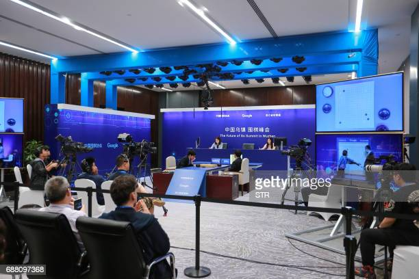 A general view shows China's 19yearold Go player Ke Jie competing during the second match against Google's artificial intelligence programme AlphaGo...