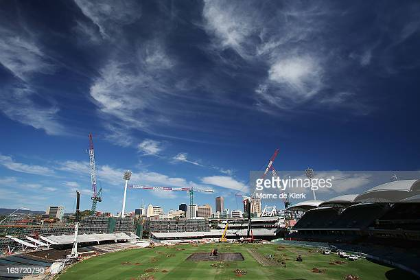 A general view shows construction at the Adelaide Oval on March 15 2013 in Adelaide Australia