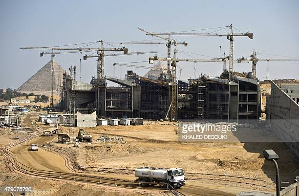 A general view shows construction at the new Grand Egyptian Museum near the Giza pyramids in Cairo on June 4 2015 Hundreds of artefacts never before...