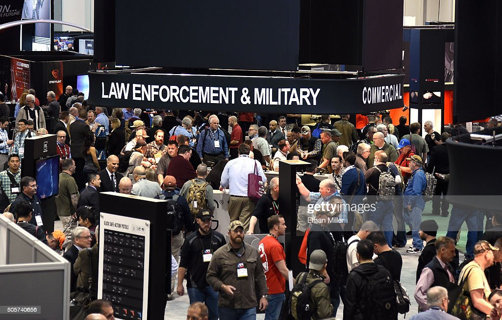 A general view shows convention attendees at the 2016 National Shooting Sports Foundation's Shooting, Hunting, Outdoor Trade (SHOT) Show at the Sands Expo and Convention Center on January 19, 2016 in Las Vegas, Nevada. The SHOT Show, the world's largest annual trade show for shooting, hunting and law enforcement professionals, runs through January 23 and is expected to feature 1,600 exhibitors showing off their latest products and services to more than 62,000 attendees.