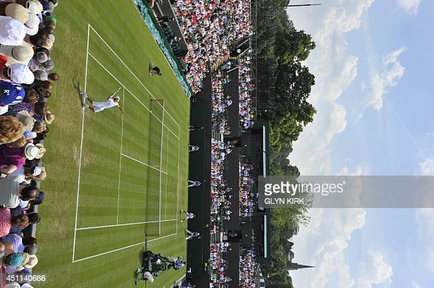 A general view shows court number 2 as Switzerland's Stanislas Wawrinka plays against Portugal's Joao Sousa during their men's first round match on...
