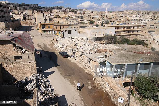 A general view shows damaged buildings in the town of Darat Azzah west of the northern Syrian city of Aleppo following reported bombings by...