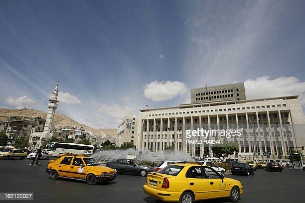 A general view shows Damascus' 'Sabaa Bahrat' square with the Central Bank building on the right on September 28 one day after a car bomb exploded...