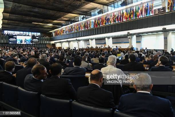 A general view shows delegates attending a plenary session to elect the new DirectorGeneral of the Food and Agriculture Organization of the United...