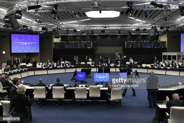 A general view shows delegates attending an EUWestern Balkans Summit in Sofia on May 17 2018 European Union leaders meet their Balkan counterparts to...