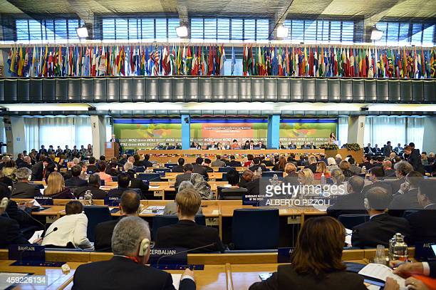 A general view shows delegates attending the International conference on Nutrition on November 19 2014 at the Food and Agriculture Organization...