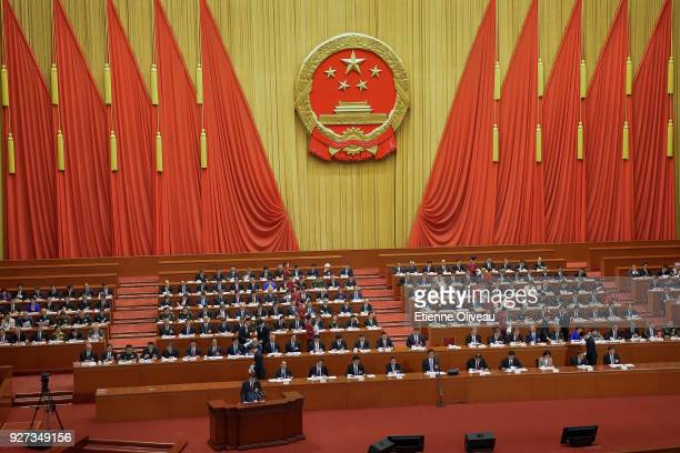 General view shows delegates sitting in the Great Hall of People during the opening session of the 13th National People's Congress on March 5, 2018...