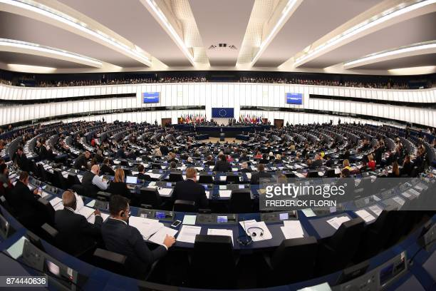 A general view shows deputies listening as Slovak President Andrej Kiska adresses deputies at the auditorium of the European Parliament in Strasbourg...