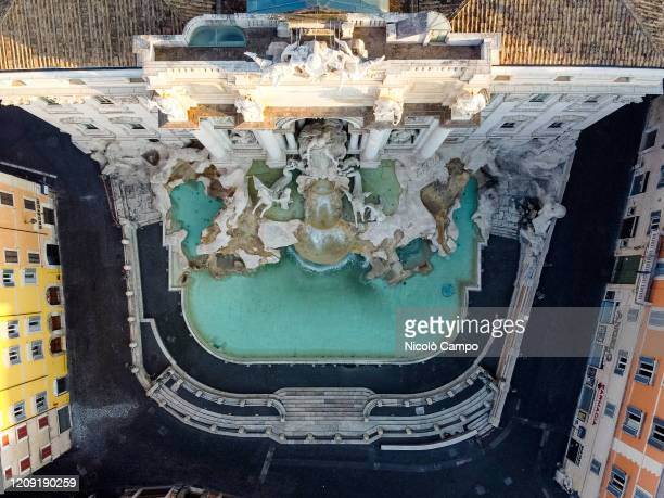 General view shows deserted Fontana di Trevi The Italian government imposed unprecedented restrictions to halt the spread of COVID19 coronavirus...