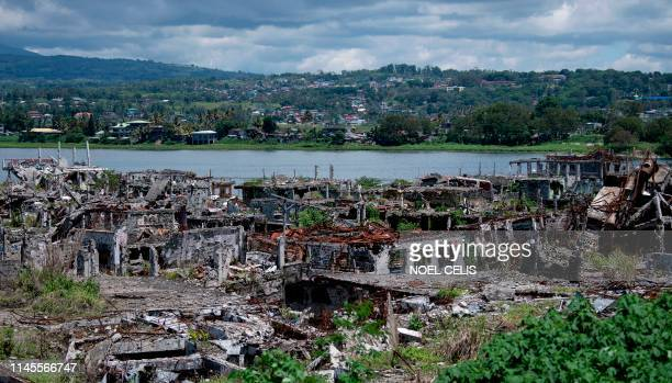 A general view shows destroyed buildings in Marawi on the southern island of Mindanao on May 23 2019 Two years after the Philippine city of Marawi...