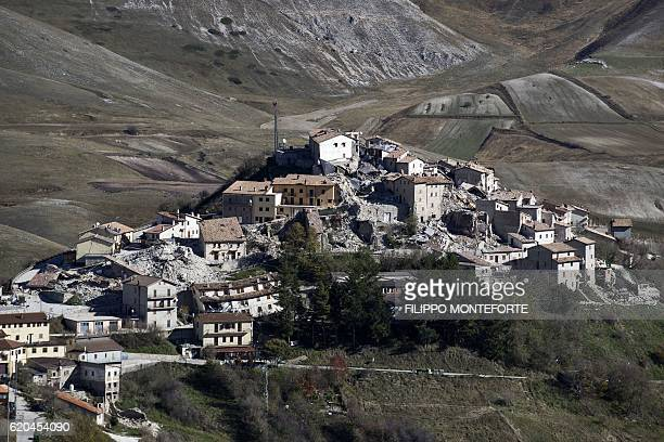 TOPSHOT A general view shows destructions in the village of Castelluccio near the Monte Vettore on November 2 three days after a 65 magnitude...