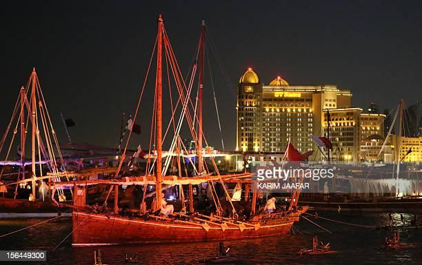 A general view shows dhows displayed during the second Katara Dhow Festival in Doha on November 15 2012 AFP PHOTO/ALWATAN DOHA/KARIM JAAFAR == QATAR...