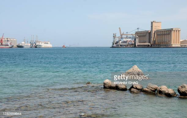 General view shows docked ships at the harbour of the Sudanese city of Port Sudan, on April 27, 2021.