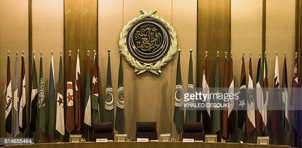 A general view shows empty seats of Arab foreign ministers ahead of a meeting to elect a new secretary general of the Arab League in the Egyptian...