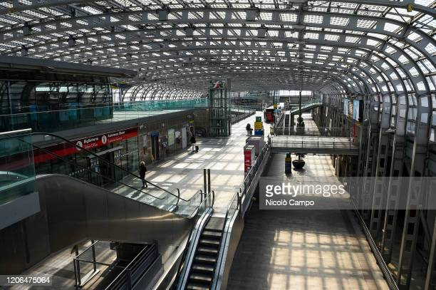 A general view shows empty Torino Porta Susa railway station The Italian government puts the whole country on lockdown as Italy is battling the...