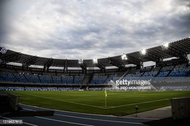 A general view shows empty tribunes prior to the Italian Cup semifinal second leg football match Napoli vs Inter Milan on June 13 2020 at the San...