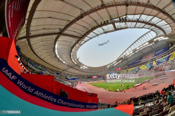 General view shows events during the 2019 IAAF Athletics World Championships at the Khalifa International stadium in Doha on October 2, 2019.