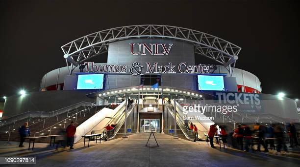 A general view shows fans entering the Thomas Mack Center before a game between the UNLV Rebels and the Wyoming Cowboys on January 05 2019 in Las...