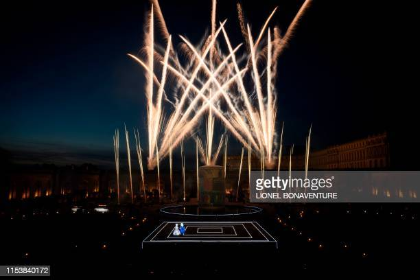 A general view shows fireworks as artists perform on stage on July 4 2019 during a pyrotechnic show MarieAntoinette by Group F presenting the fate of...