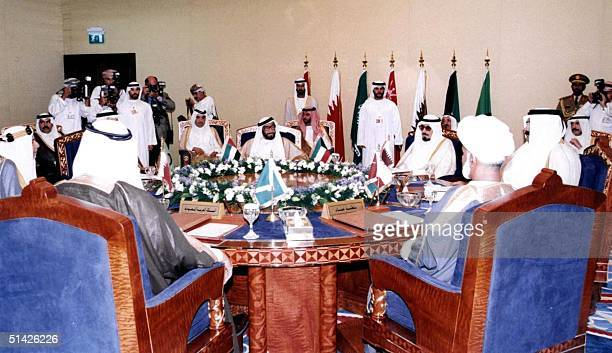 General view shows Gulf leaders during their meeting at the Gulf Cooperation Council summit 08 December in Abu Dhabi Gulf leaders took a tough stand...