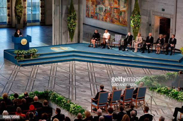 A general view shows Hiroshima nuclear bombing survivor Setsuko Thurlow who received the 2017 Nobel Peace Prize on behalf of the International...