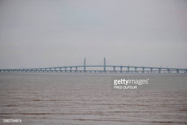 A general view shows Hong KongZhuhaiMacau Bridge in Zhuhai on October 22 on the eve of its opening ceremony The world's longest sea bridge connecting...