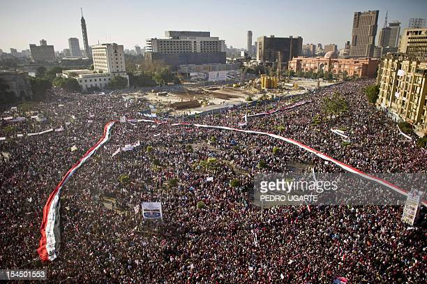 A general view shows hundreds of thousands of Egyptians gathered at Cairo's central Tahrir Square on February 18 2011 during celebrations marking one...