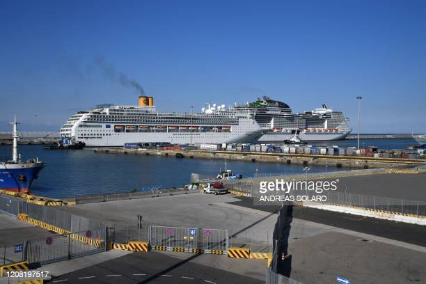 General view shows Italy's Costa Cruises ship Costa Victoria after docking at the port of Civitavecchia, some 70 kms northwest of Rome, on March 25,...