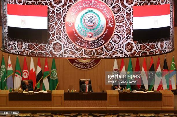 A general view shows Jordan's King Abdullah II chairing the Arab League summit in the Jordanian Dead Sea resort of Sweimeh on March 29 2017 Arab...
