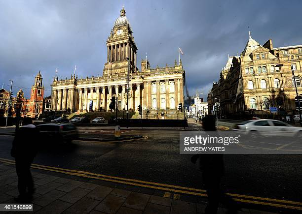 A general view shows Leeds Town Hall in Leeds northwest England on January 9 2014 Leeds Town Hall was constructed in the mid 19th century after a...