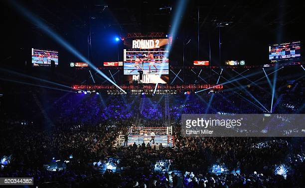 A general view shows Manny Pacquiao and Timothy Bradley Jr in the ring during the second round of their welterweight fight at MGM Grand Garden Arena...